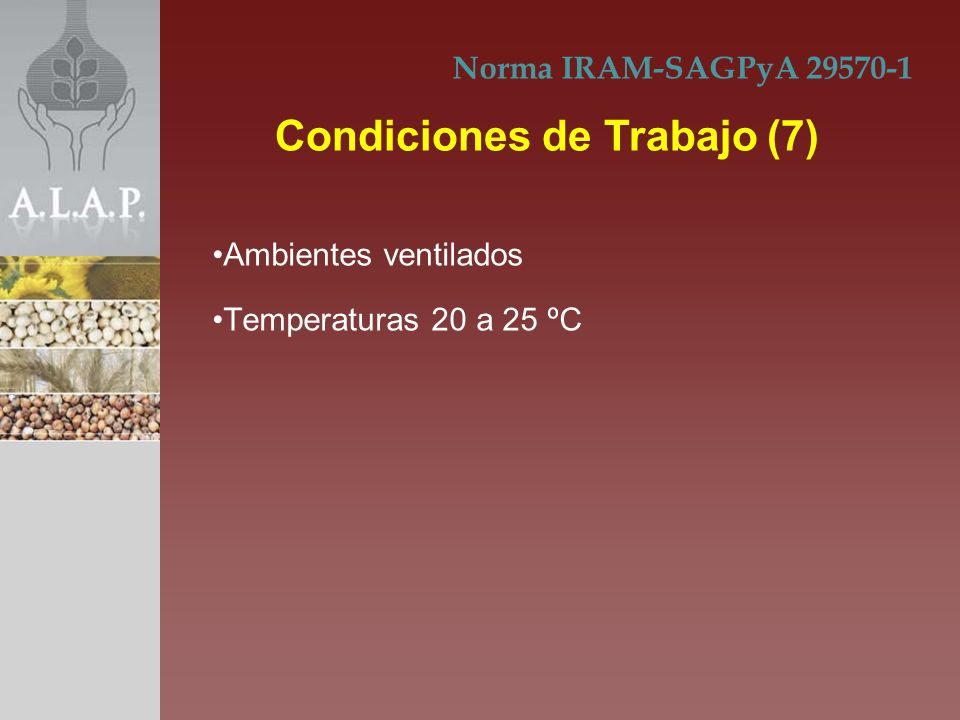 Ambientes ventilados Temperaturas 20 a 25 ºC