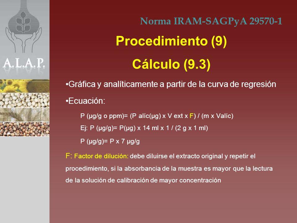 Procedimiento (9) Cálculo (9.3)