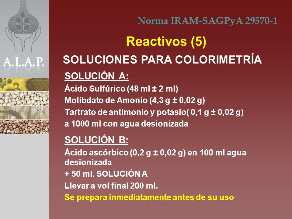 Reactivos (5) SOLUCIONES PARA COLORIMETRÍA Norma IRAM-SAGPyA 29570-1