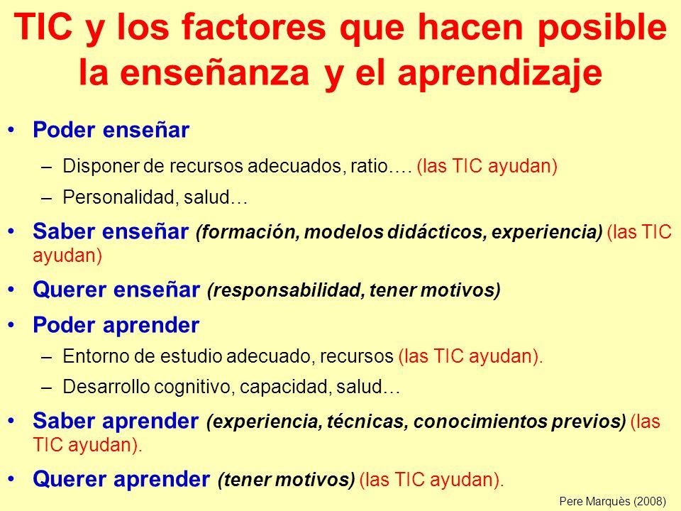 TIC y los factores que hacen posible la enseñanza y el aprendizaje