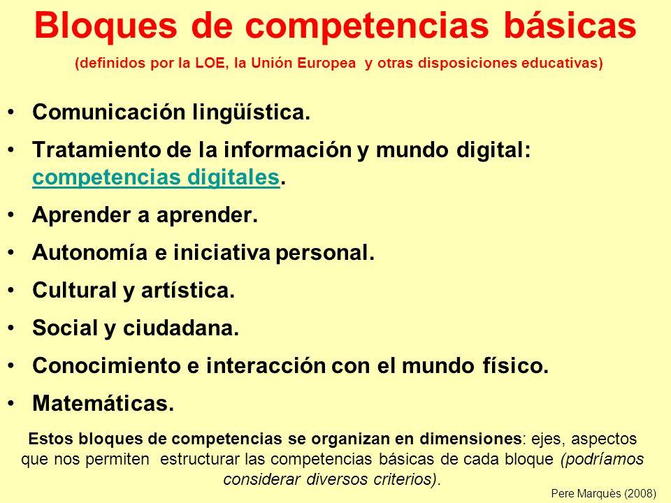 Bloques de competencias básicas (definidos por la LOE, la Unión Europea y otras disposiciones educativas)
