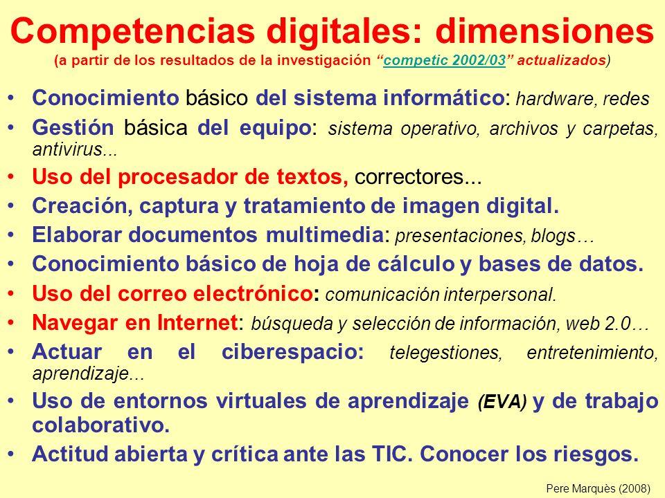 Competencias digitales: dimensiones (a partir de los resultados de la investigación competic 2002/03 actualizados)