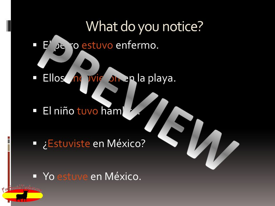 PREVIEW What do you notice El perro estuvo enfermo.