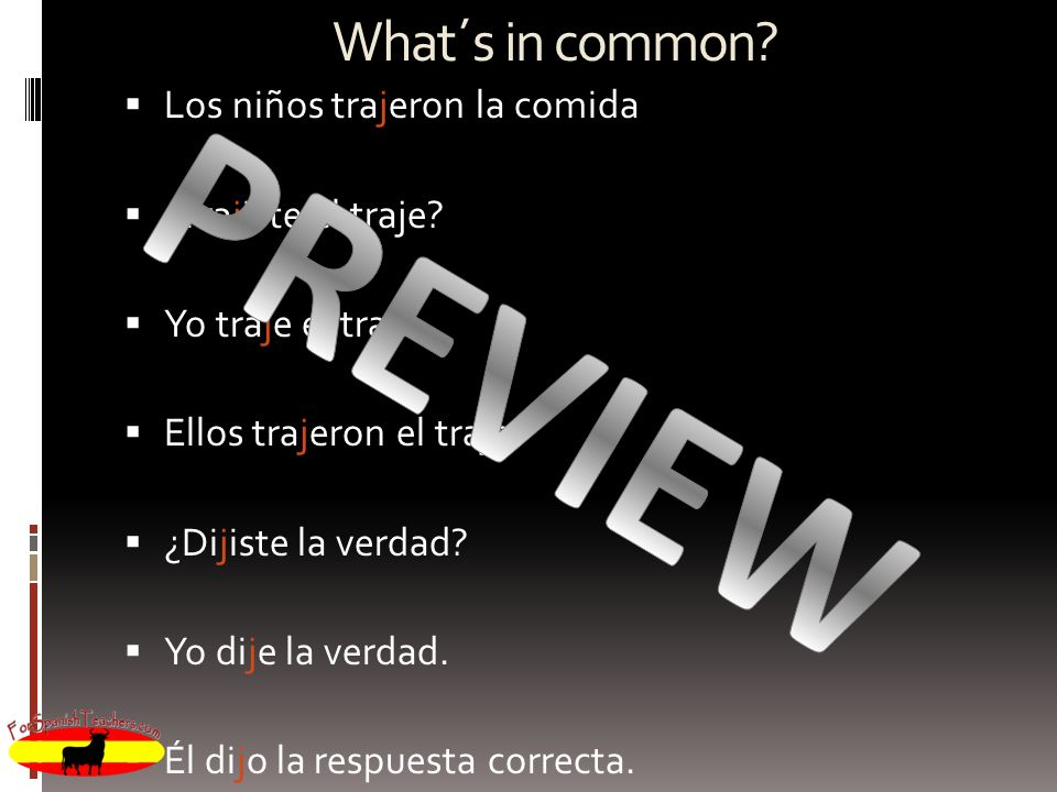 PREVIEW What´s in common Los niños trajeron la comida