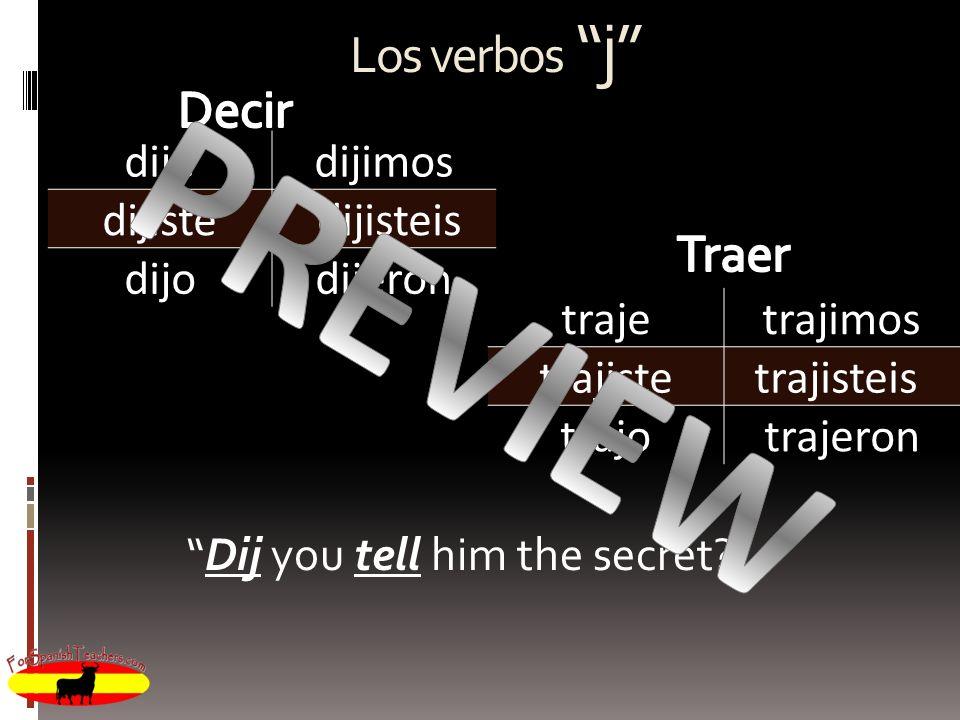 PREVIEW Los verbos j Decir Traer dije dijimos dijiste dijisteis dijo