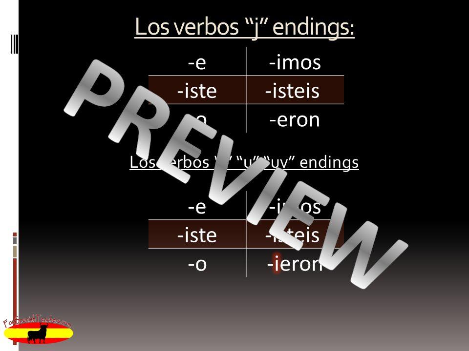 Los verbos j endings: