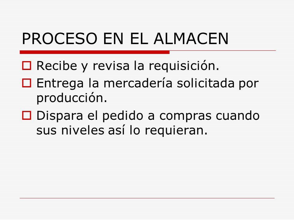 PROCESO EN EL ALMACEN Recibe y revisa la requisición.