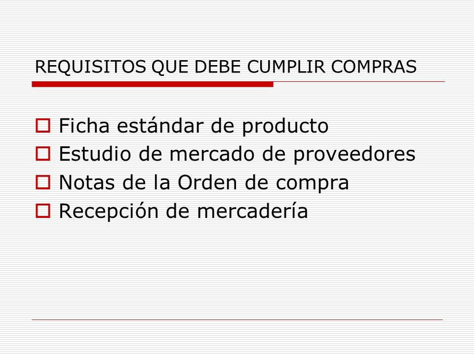 REQUISITOS QUE DEBE CUMPLIR COMPRAS
