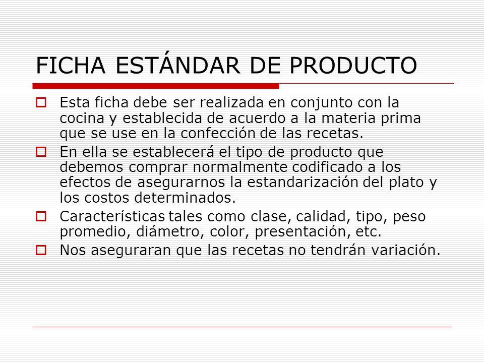 FICHA ESTÁNDAR DE PRODUCTO