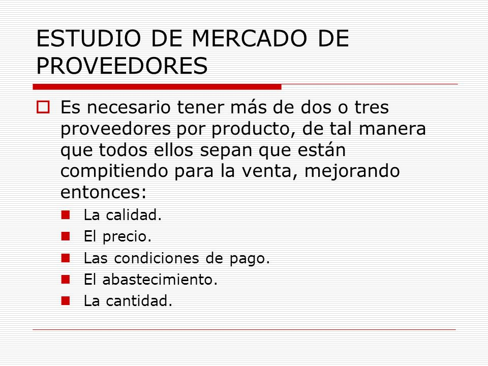 ESTUDIO DE MERCADO DE PROVEEDORES