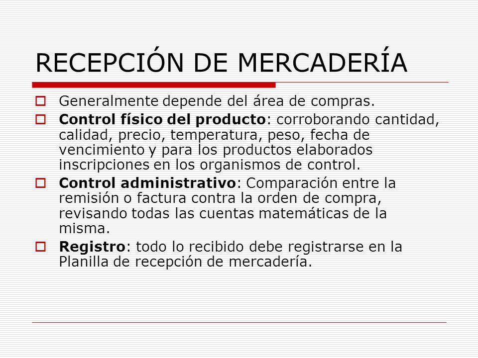 RECEPCIÓN DE MERCADERÍA