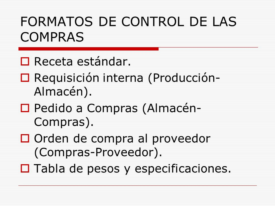 FORMATOS DE CONTROL DE LAS COMPRAS