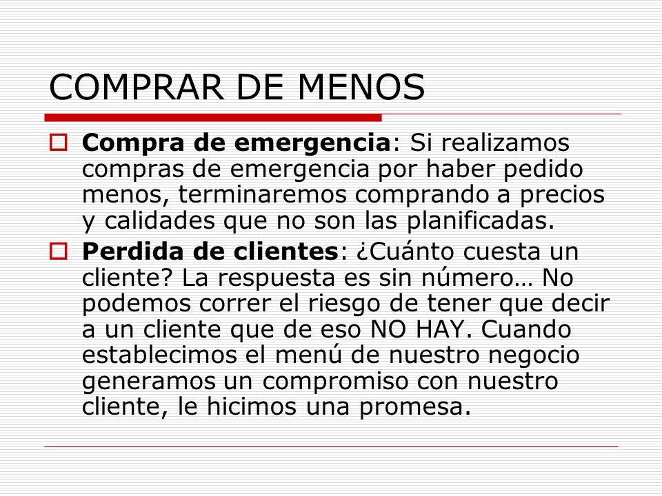 COMPRAR DE MENOS