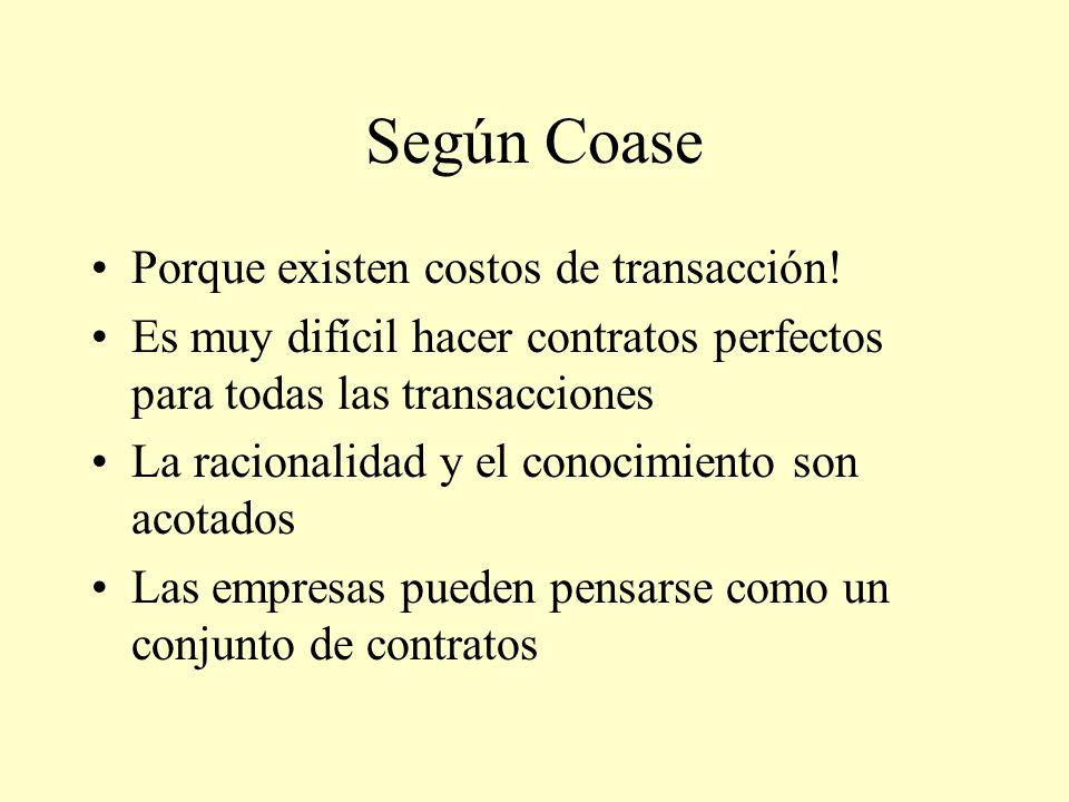 Según Coase Porque existen costos de transacción!