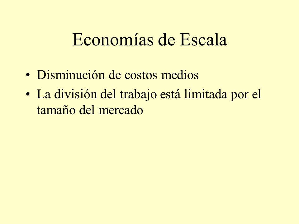 Economías de Escala Disminución de costos medios