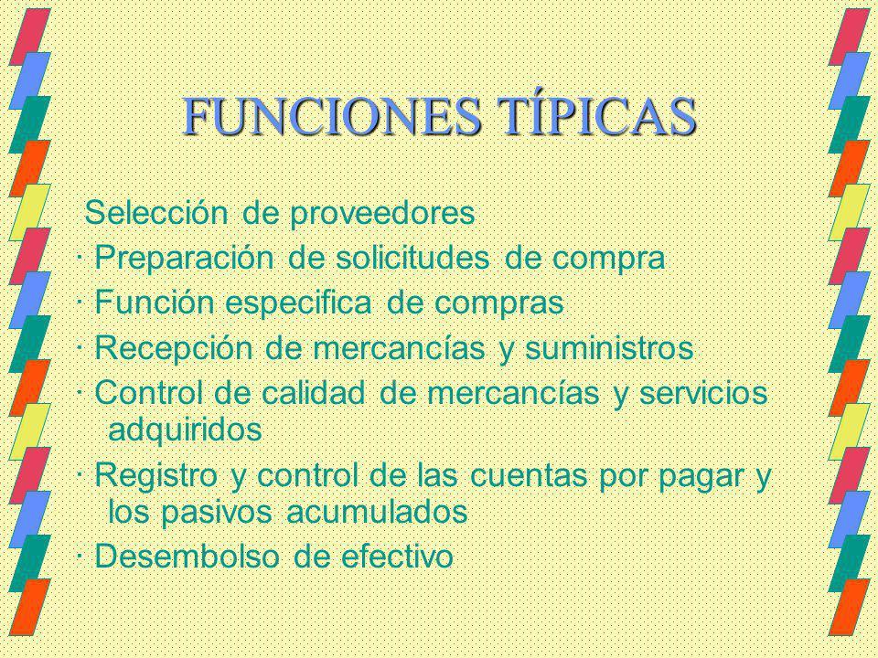 FUNCIONES TÍPICAS Selección de proveedores