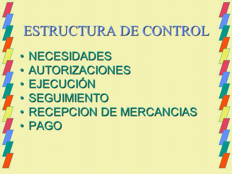 ESTRUCTURA DE CONTROL NECESIDADES AUTORIZACIONES EJECUCIÓN SEGUIMIENTO