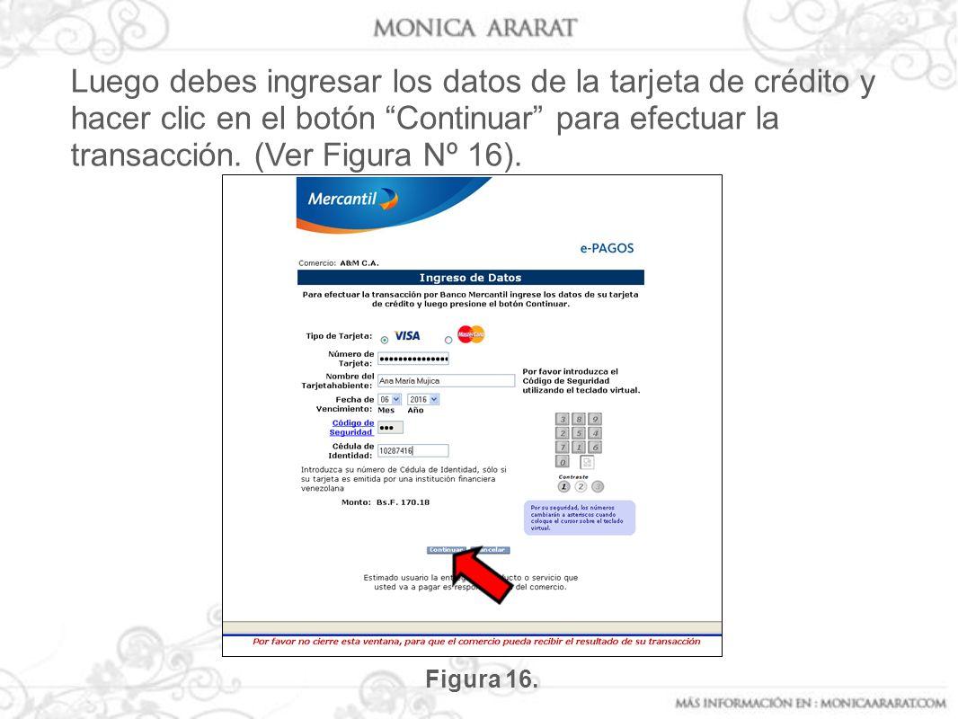 Luego debes ingresar los datos de la tarjeta de crédito y hacer clic en el botón Continuar para efectuar la transacción. (Ver Figura Nº 16).