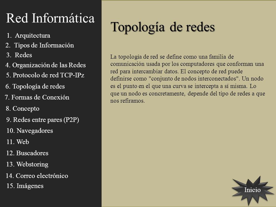 Red Informática Topología de redes 1. Arquitectura
