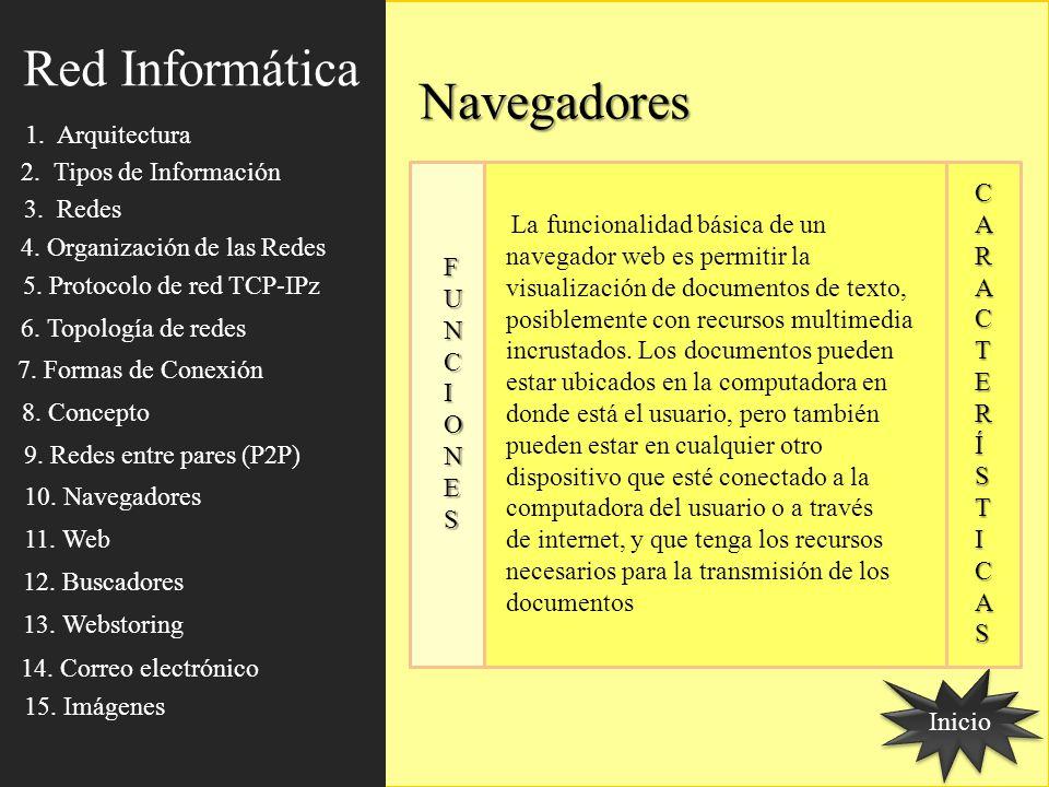 Red Informática Navegadores 1. Arquitectura 2. Tipos de Información C