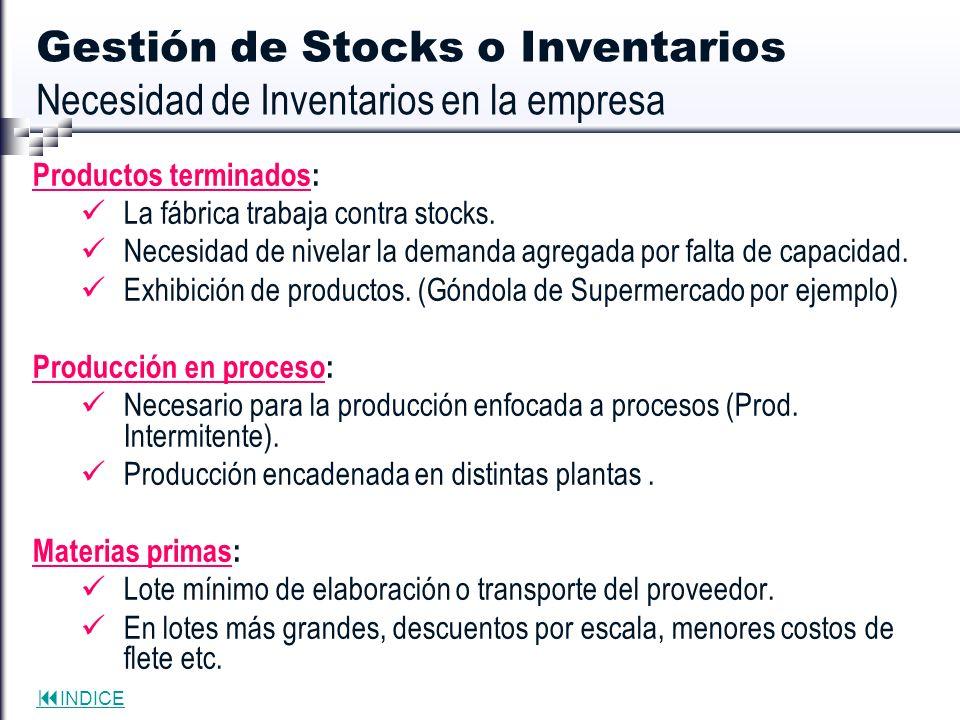 Gestión de Stocks o Inventarios Necesidad de Inventarios en la empresa