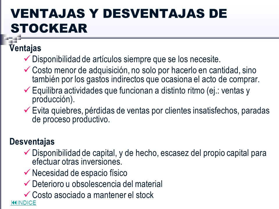 VENTAJAS Y DESVENTAJAS DE STOCKEAR