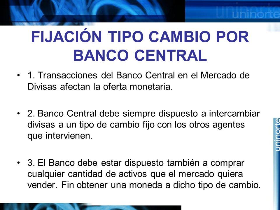 FIJACIÓN TIPO CAMBIO POR BANCO CENTRAL