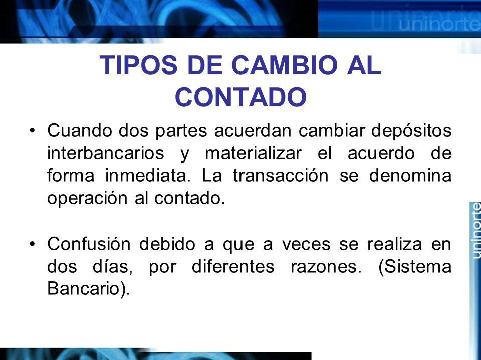 TIPOS DE CAMBIO AL CONTADO