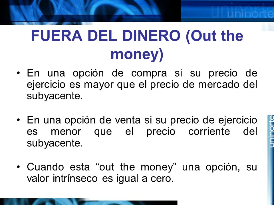 FUERA DEL DINERO (Out the money)