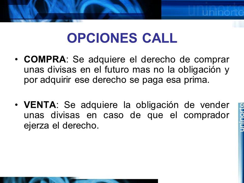 OPCIONES CALL COMPRA: Se adquiere el derecho de comprar unas divisas en el futuro mas no la obligación y por adquirir ese derecho se paga esa prima.