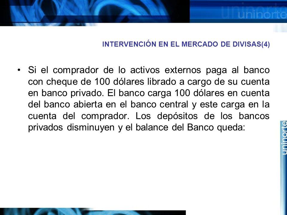 INTERVENCIÓN EN EL MERCADO DE DIVISAS(4)