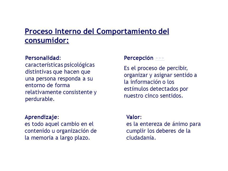 Proceso Interno del Comportamiento del consumidor:
