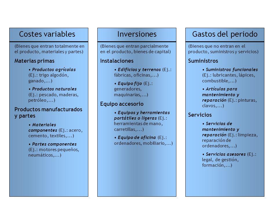 Costes variables Inversiones Gastos del periodo Materias primas