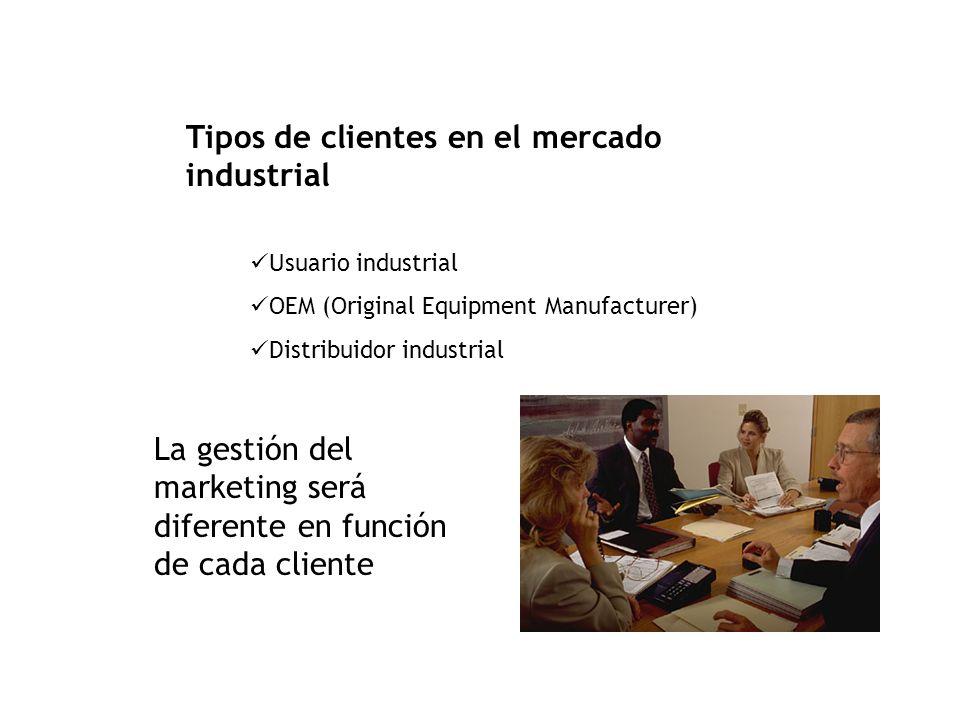 Tipos de clientes en el mercado industrial