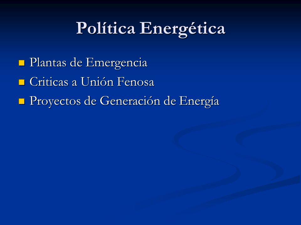 Política Energética Plantas de Emergencia Criticas a Unión Fenosa