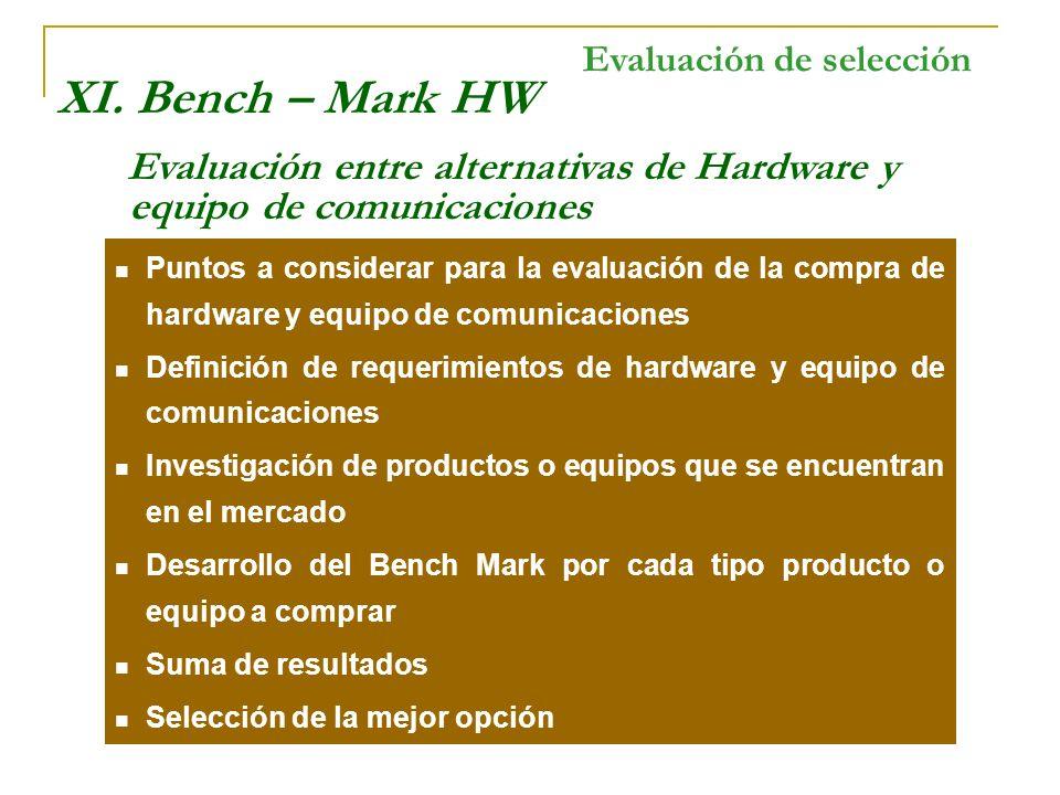 XI. Bench – Mark HW Evaluación de selección
