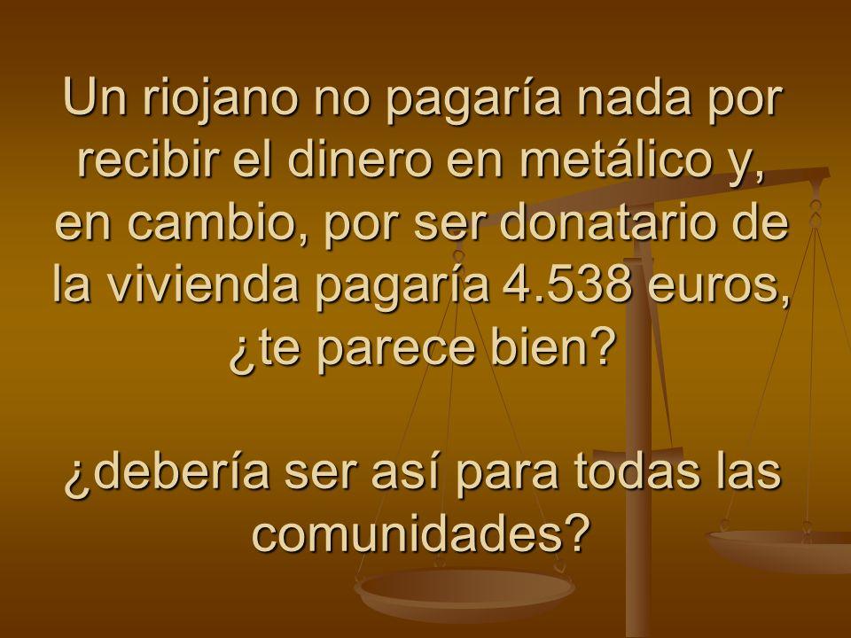 Un riojano no pagaría nada por recibir el dinero en metálico y, en cambio, por ser donatario de la vivienda pagaría 4.538 euros, ¿te parece bien.
