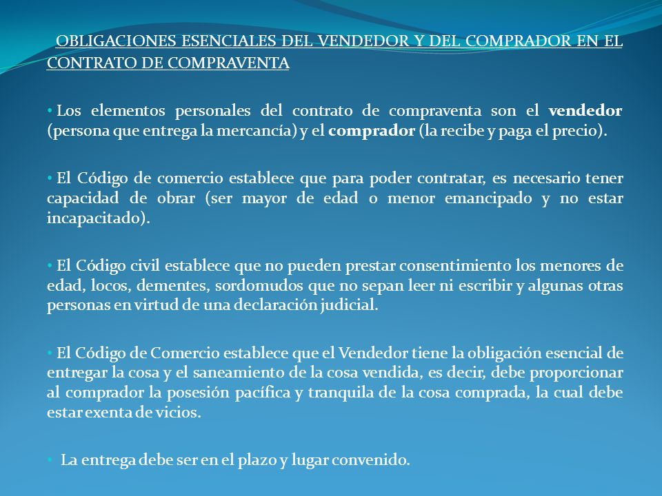 OBLIGACIONES ESENCIALES DEL VENDEDOR Y DEL COMPRADOR EN EL CONTRATO DE COMPRAVENTA