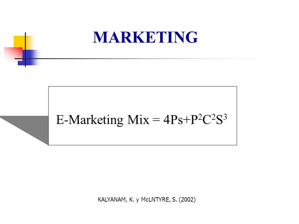 MARKETING E-Marketing Mix = 4Ps+P2C2S3