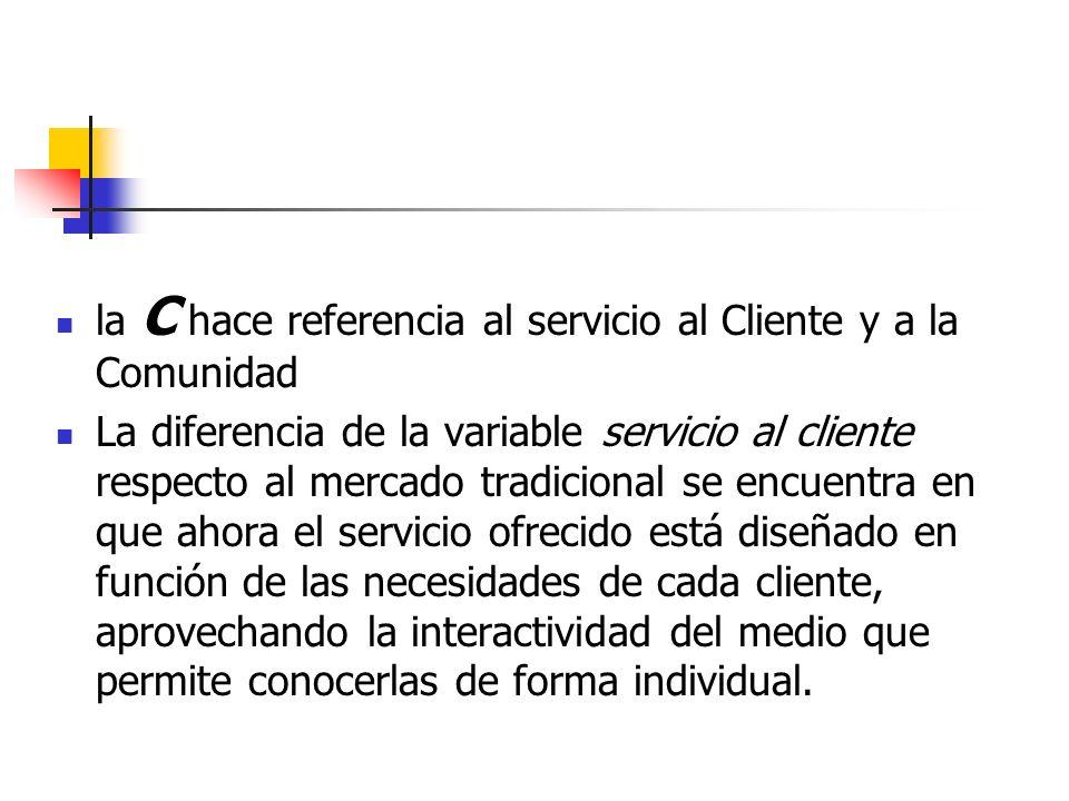 la C hace referencia al servicio al Cliente y a la Comunidad