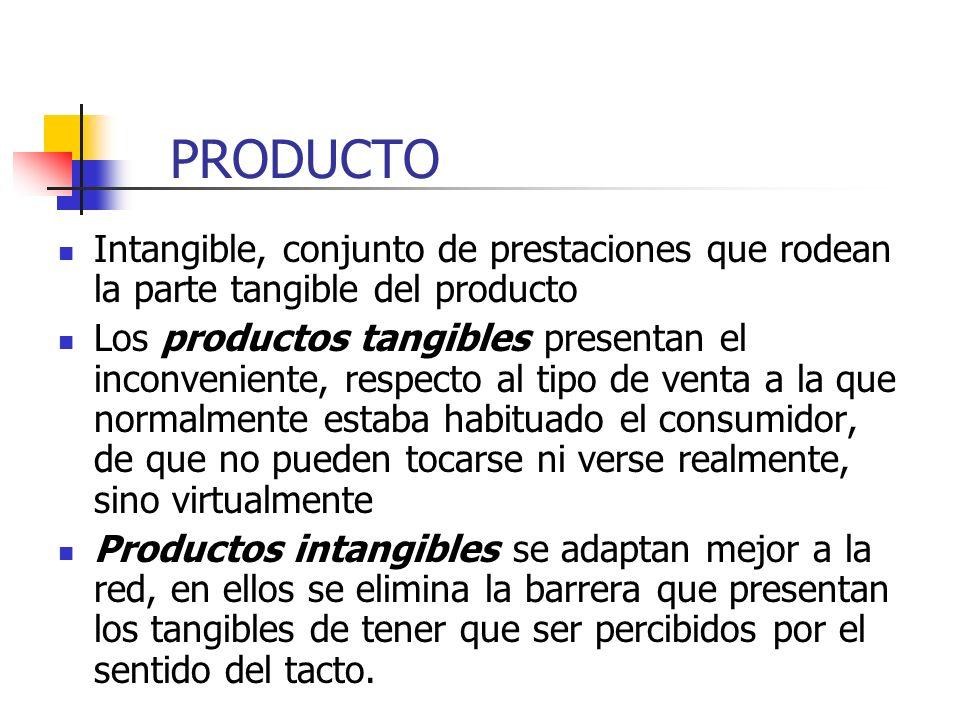 PRODUCTO Intangible, conjunto de prestaciones que rodean la parte tangible del producto.