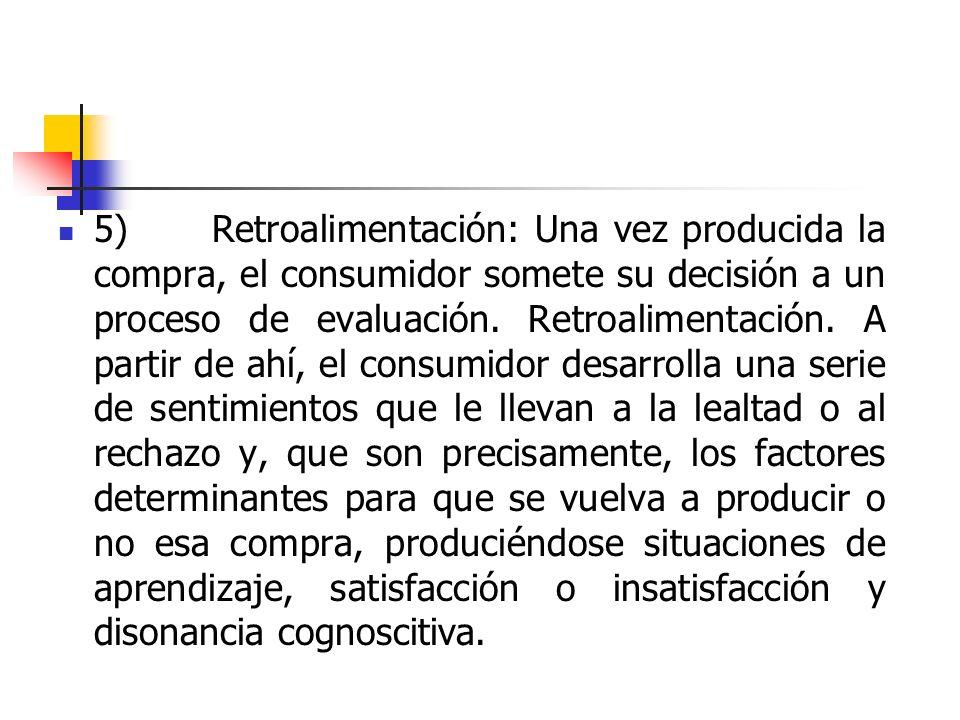 5) Retroalimentación: Una vez producida la compra, el consumidor somete su decisión a un proceso de evaluación.