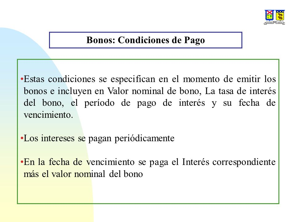Bonos: Condiciones de Pago