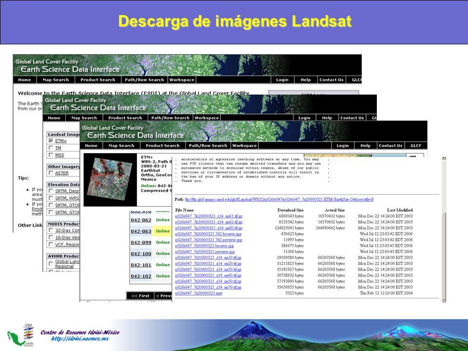 Descarga de imágenes Landsat
