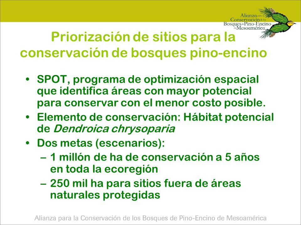 Priorización de sitios para la conservación de bosques pino-encino