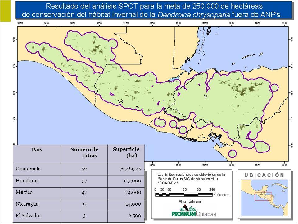 PaísNúmero de sitios. Superficie (ha) Guatemala. 52. 72,489.45. Honduras. 57. 113,000. México. 47. 74,000.
