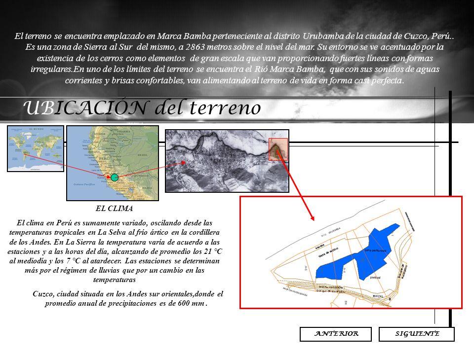 El terreno se encuentra emplazado en Marca Bamba perteneciente al distrito Urubamba de la ciudad de Cuzco, Perú.. Es una zona de Sierra al Sur del mismo, a 2863 metros sobre el nivel del mar. Su entorno se ve acentuado por la existencia de los cerros como elementos de gran escala que van proporcionando fuertes líneas con formas irregulares.En uno de los límites del terreno se encuentra el Rió Marca Bamba, que con sus sonidos de aguas corrientes y brisas confortables, van alimentando al terreno de vida en forma casi perfecta.
