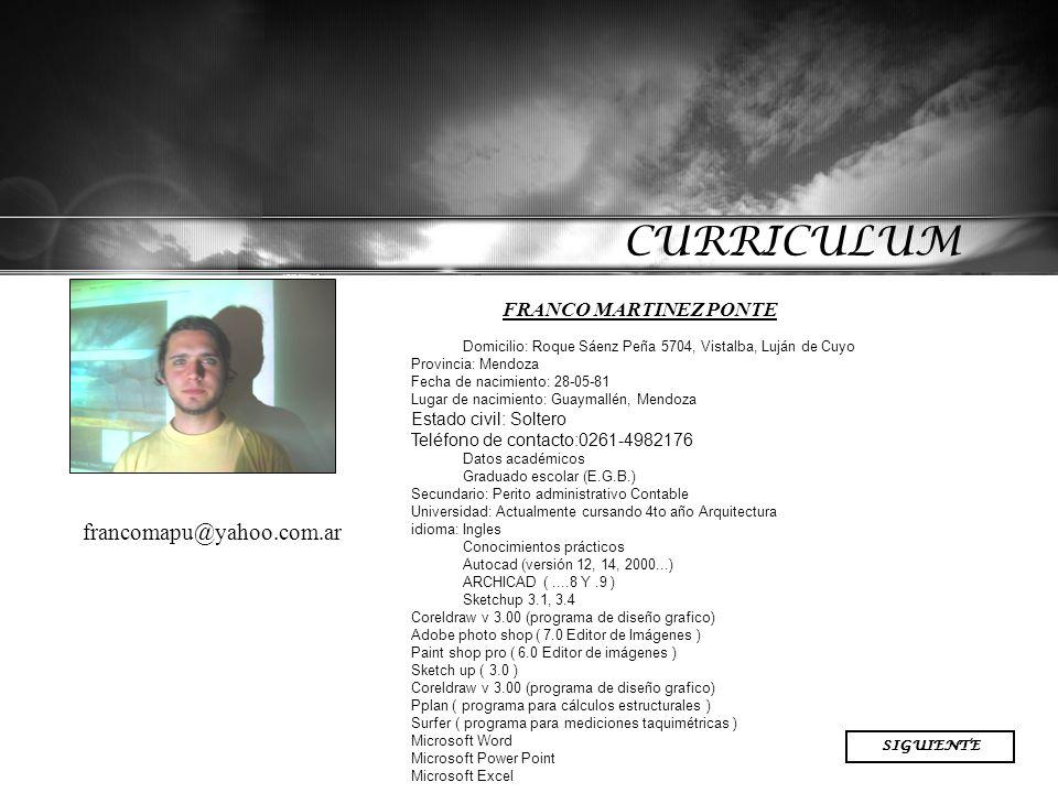 CURRICULUM francomapu@yahoo.com.ar FRANCO MARTINEZ PONTE VOLVER