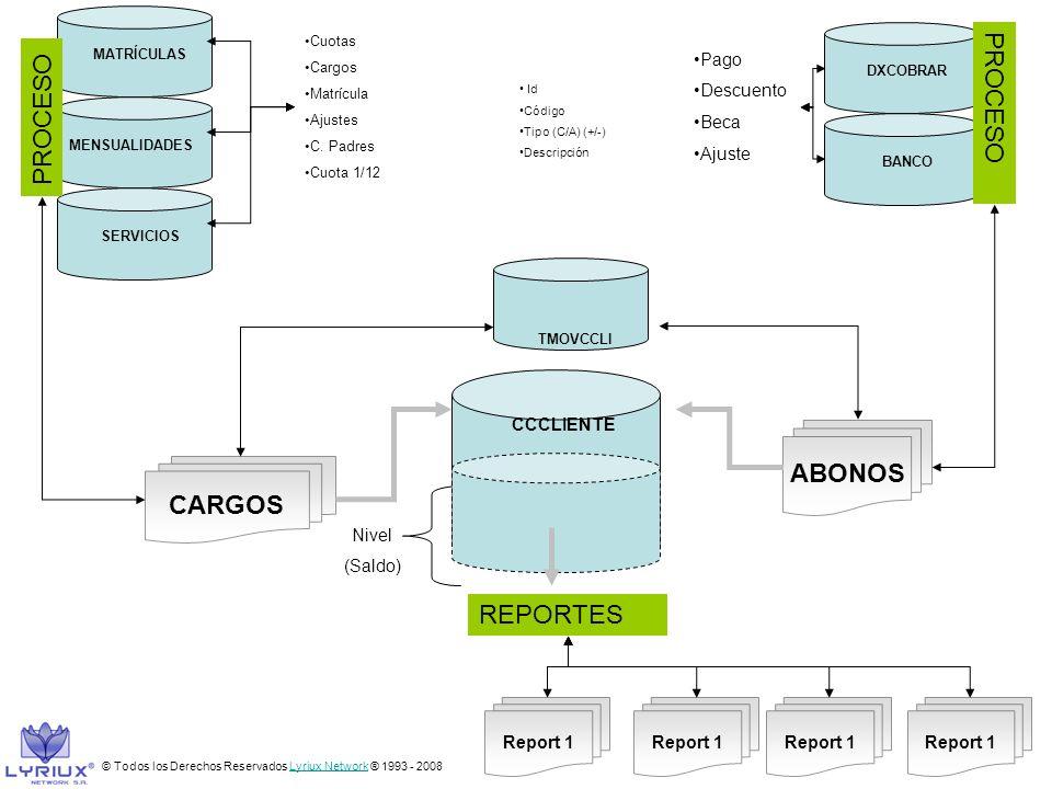PROCESO PROCESO ABONOS CARGOS REPORTES Pago Descuento Beca Ajuste