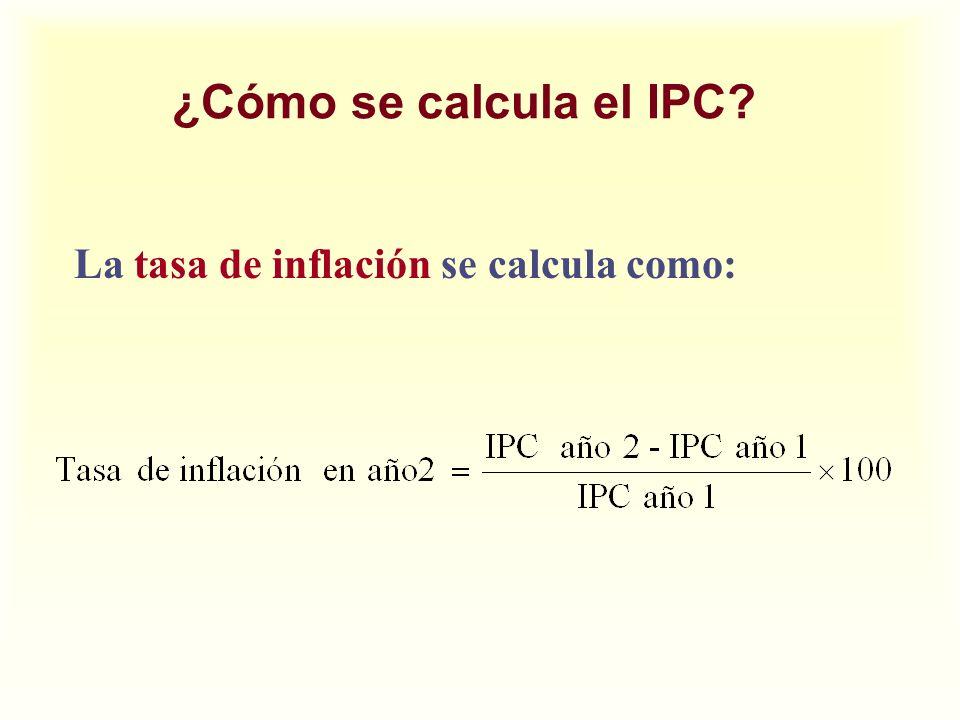 ¿Cómo se calcula el IPC La tasa de inflación se calcula como: